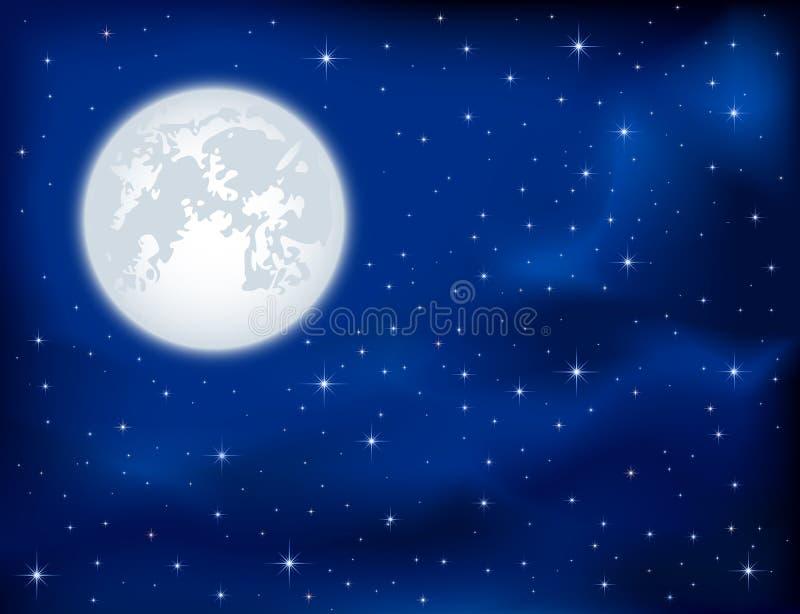 Cielo nocturno y luna ilustración del vector
