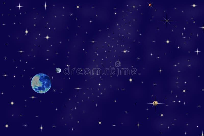 Cielo nocturno y planetas imagen de archivo libre de regalías