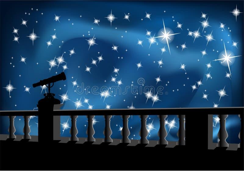 Cielo nocturno y telescopio stock de ilustración