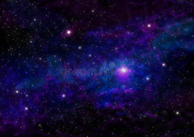 Cielo notturno con le stelle e la nebulosa blu porpora Fondo dello spazio royalty illustrazione gratis