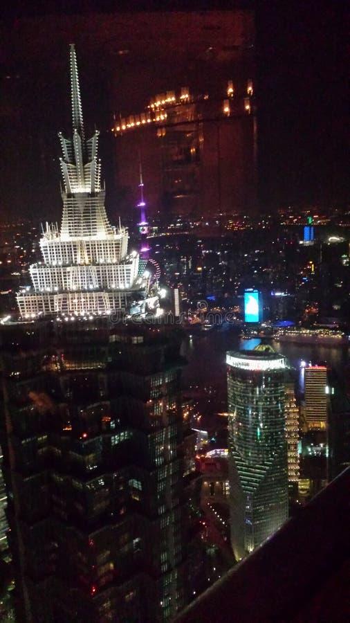 Cielo notturno di Shanghai immagini stock libere da diritti