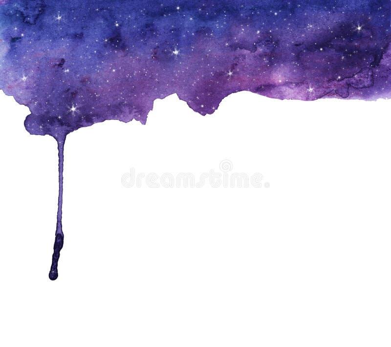 Cielo notturno e stelle Dell'acquerello di flusso fondo dipinto a mano astratto giù illustrazione di stock