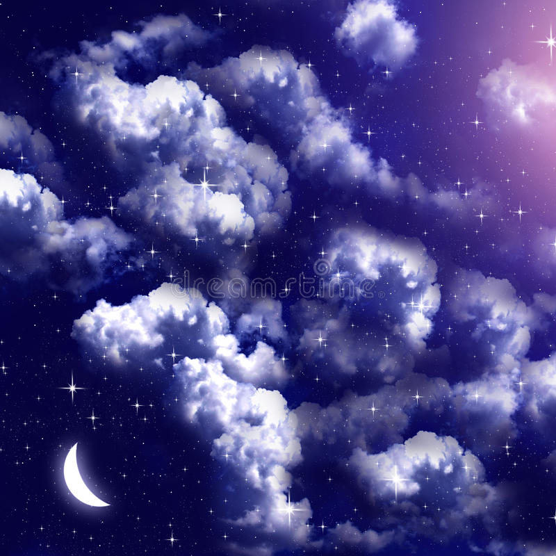 Cielo nublado con la luna en la noche stock de ilustración