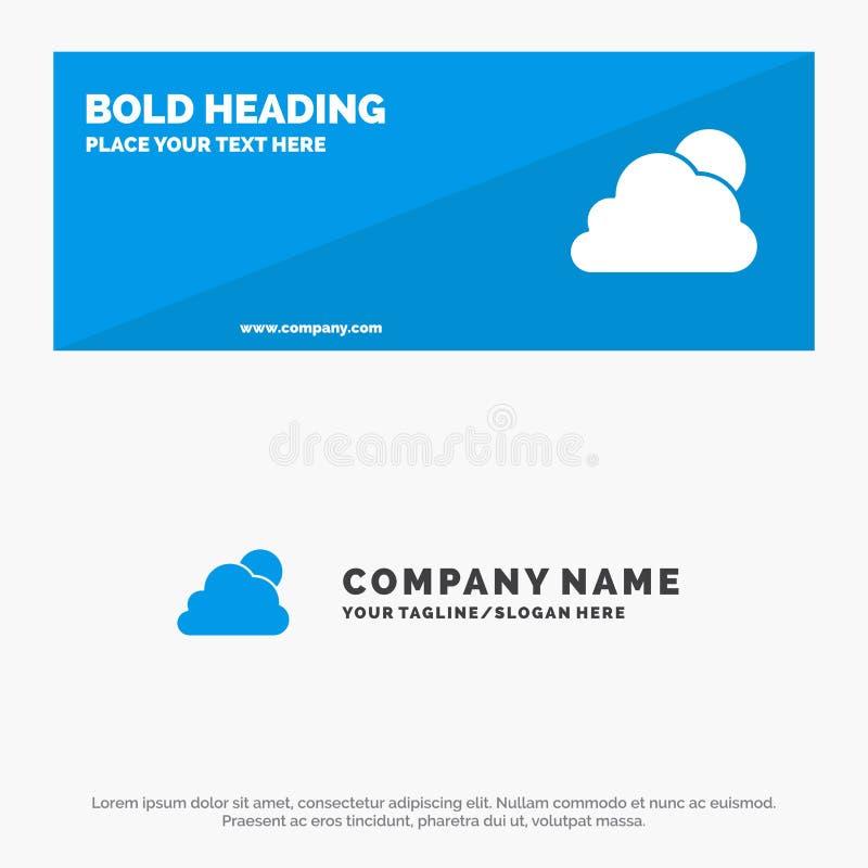Cielo, nuvola, Sun, insegna solida nuvolosa del sito Web dell'icona ed affare Logo Template royalty illustrazione gratis