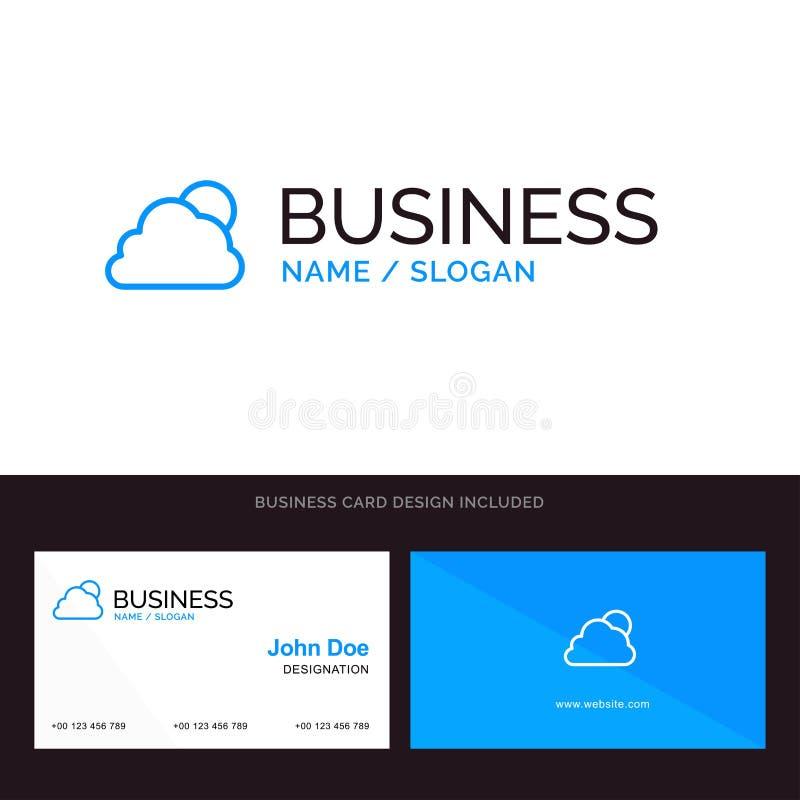 Cielo, nuvola, Sun, logo blu nuvoloso di affari e modello del biglietto da visita Progettazione della parte posteriore e della pa royalty illustrazione gratis