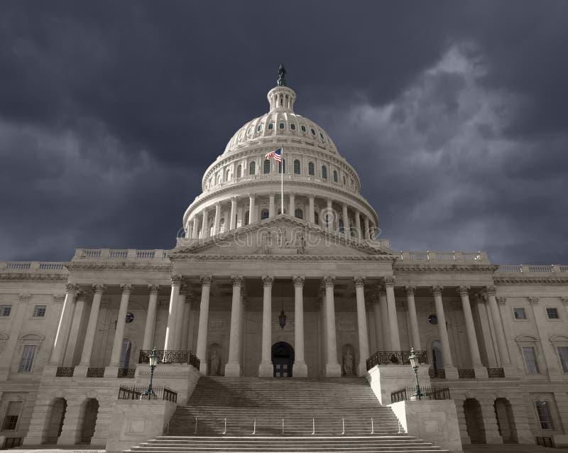 Cielo oscuro sobre el capitolio de Estados Unidos foto de archivo