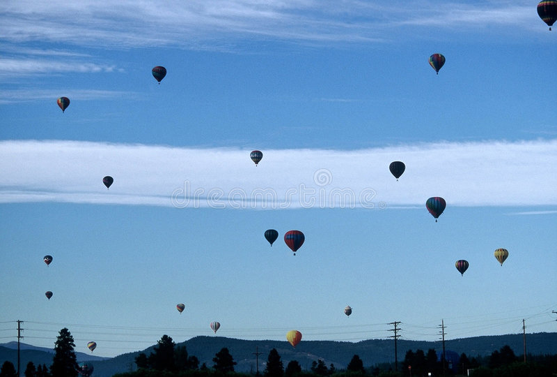 Cielo In Pieno Degli Aerostati Fotografie Stock