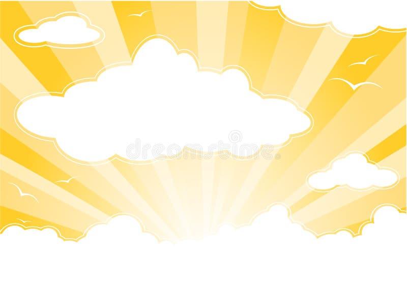 Cielo pieno di sole con le nubi illustrazione di stock