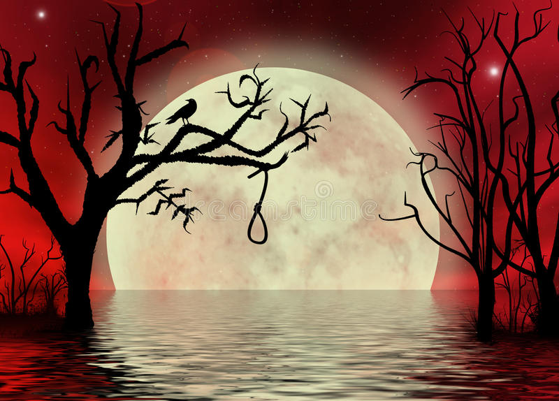 Cielo rojo con el moonscape de la fantasía de la cuerda imagen de archivo libre de regalías