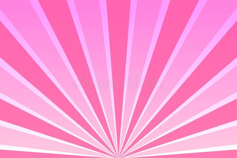 Cielo rosa con i raggi illustrazione vettoriale