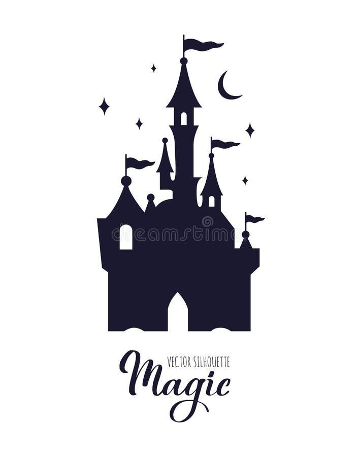 Cielo stellato del castello di fiaba della siluetta di notte medievale del witn illustrazione di stock
