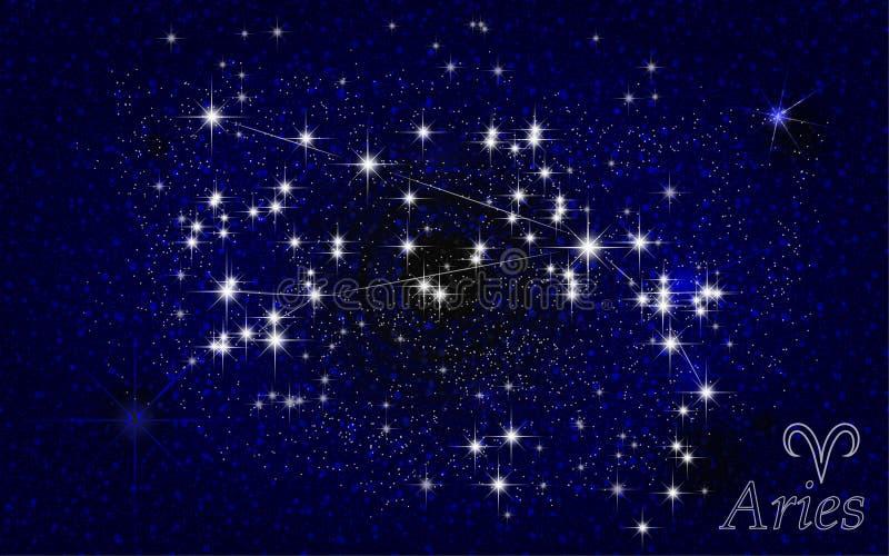 Cielo stellato dell'estratto della costellazione dell'Ariete illustrazione di stock