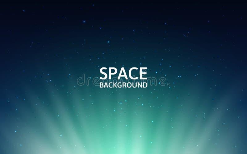Cielo stellato e aurora boreale Fondo dello spazio con la Via Lattea e le stelle brillanti Contesto variopinto con stardust royalty illustrazione gratis