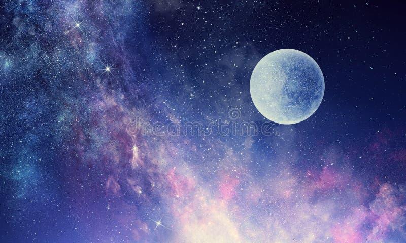 Cielo stellato e luna Media misti fotografia stock