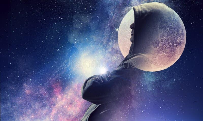 Cielo stellato e luna Media misti fotografia stock libera da diritti