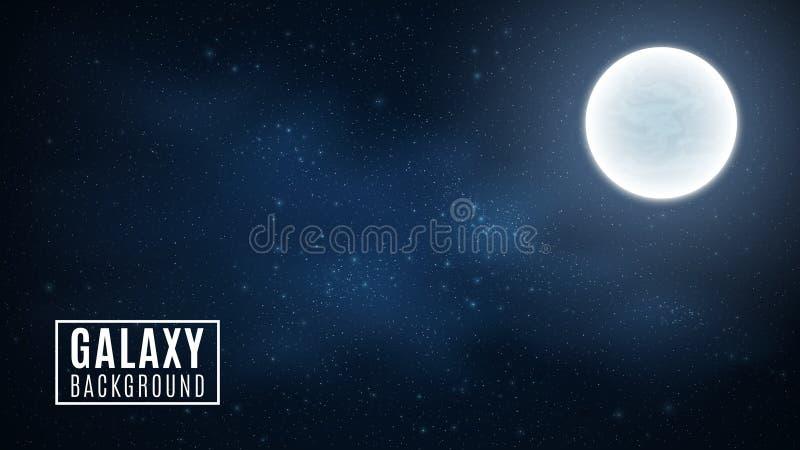 Cielo stellato e luna Cielo stupefacente L'incandescenza delle stelle nell'oscurità completa Galassia sbalorditiva Spazio all'ape royalty illustrazione gratis