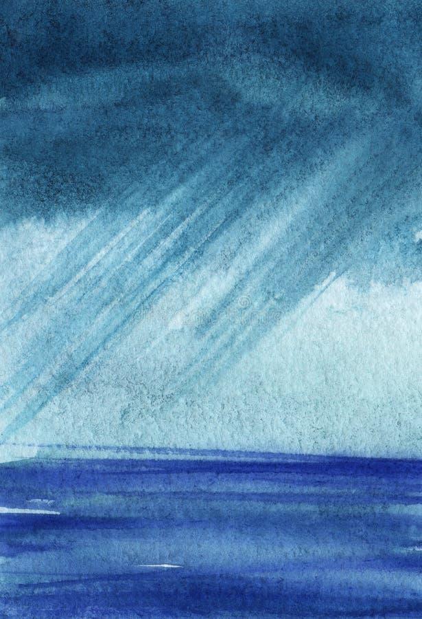 Cielo tempestoso pesante sopra il mare blu Sopra lo spazio di orizzonte Correnti oblique di pioggia Illustrazione disegnata a man illustrazione vettoriale