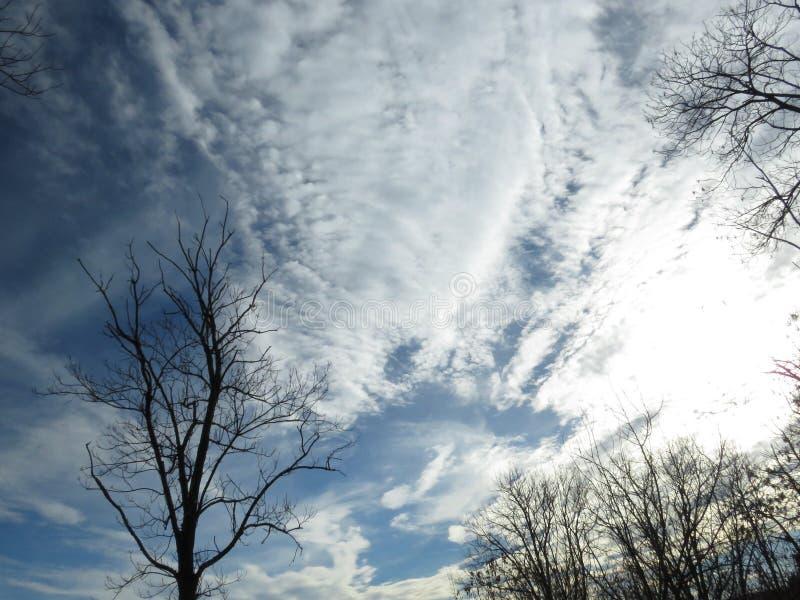 Cielo tempestuoso del invierno por completo de las nubes blancas fotografía de archivo