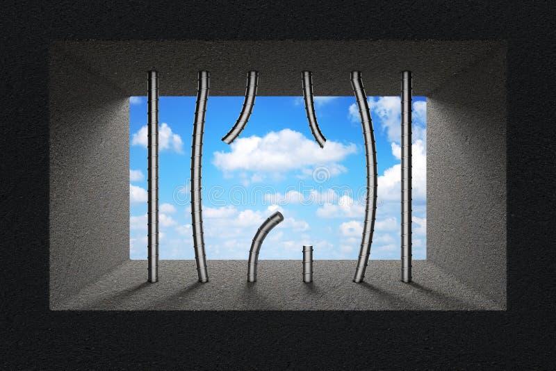 Cielo visto a través de barras quebradas de la cárcel en ventana de la prisión representación 3d stock de ilustración