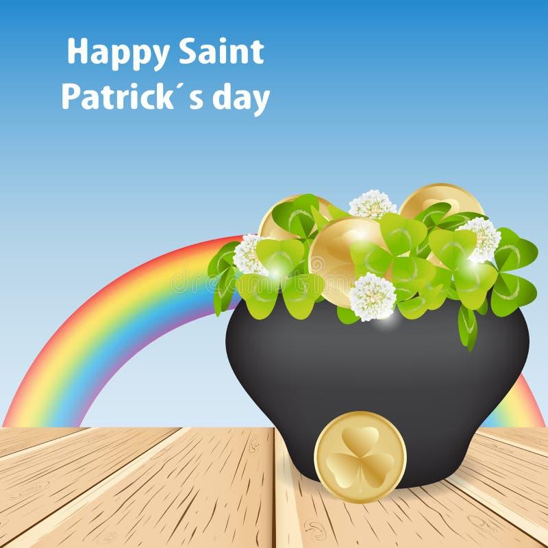 Cielo y arco iris de la magia Día feliz de St Patrick, en el tabl de madera stock de ilustración