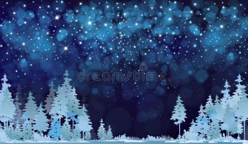 Cielo y bosque estrellados de la noche del invierno del vector ilustración del vector