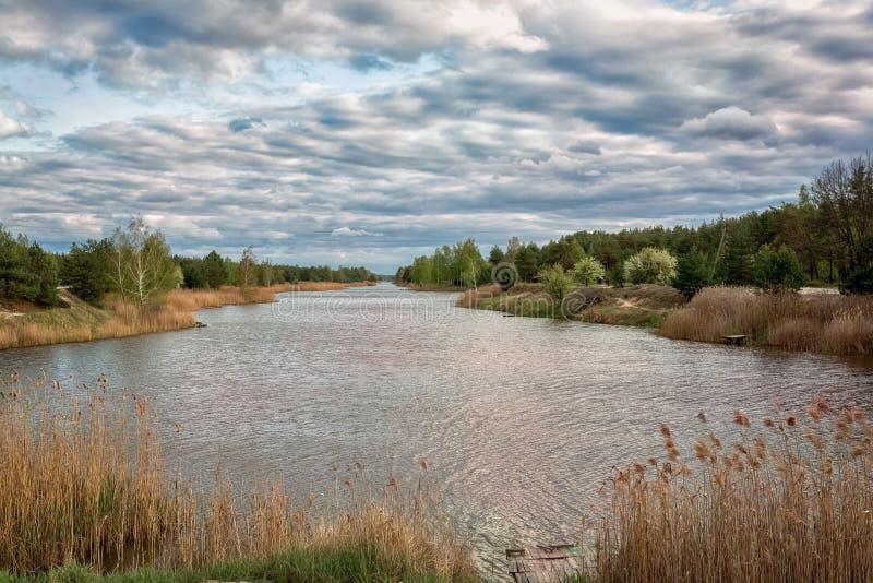 Cielos azules hermosos en un día de primavera a lo largo del río de Illinois imagen de archivo libre de regalías