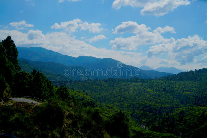 Cielos azules y colinas verdes imagen de archivo libre de regalías