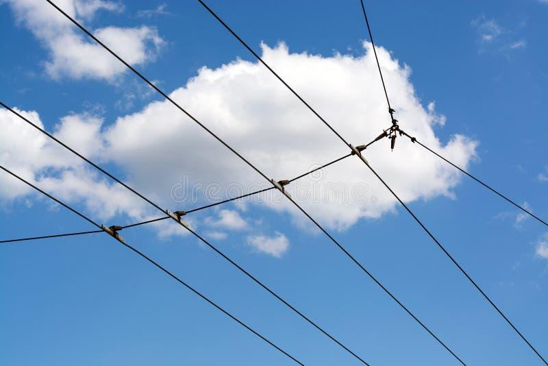 Cielos azules y rejilla eléctrica imágenes de archivo libres de regalías