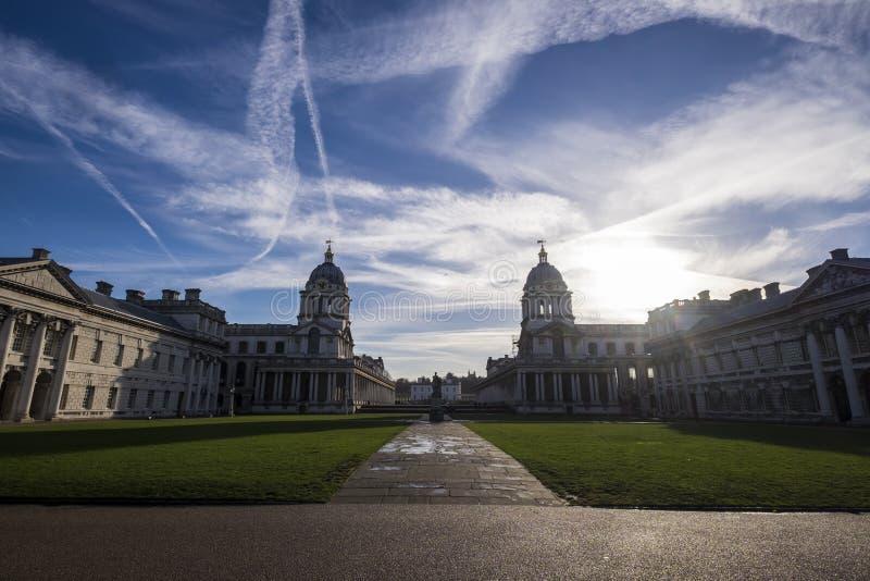 Cielos ocupados sobre Greenwich Londres fotos de archivo libres de regalías
