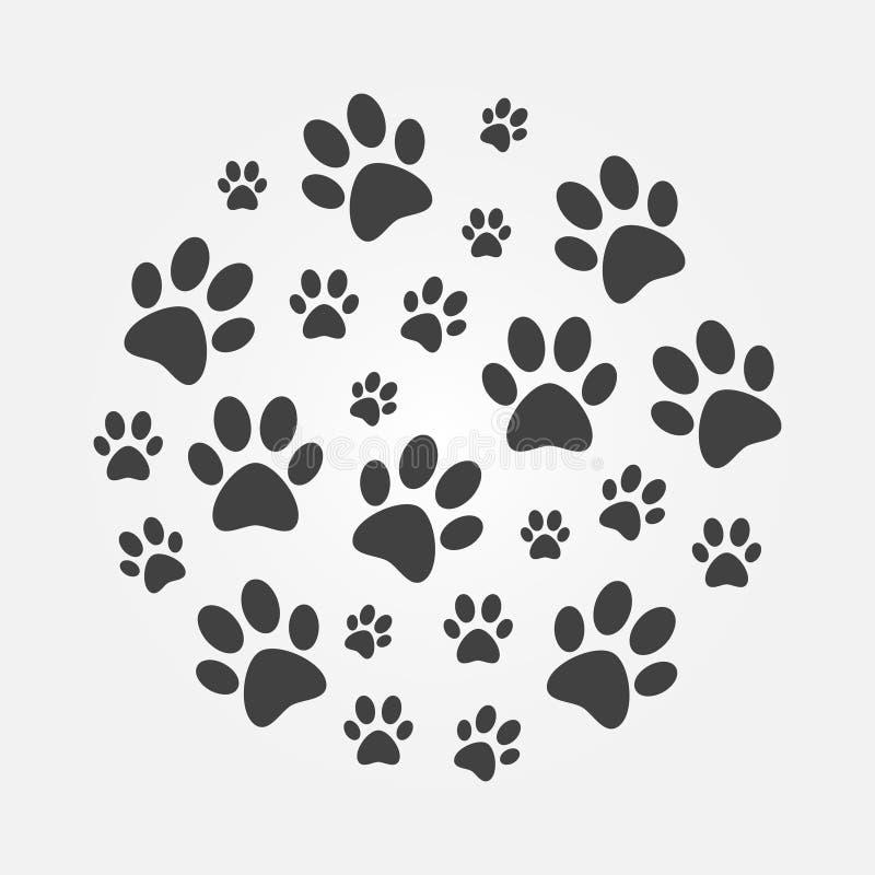 Ciemna łapa Drukuje wokoło ilustraci Wektorów psi odciski stopy royalty ilustracja