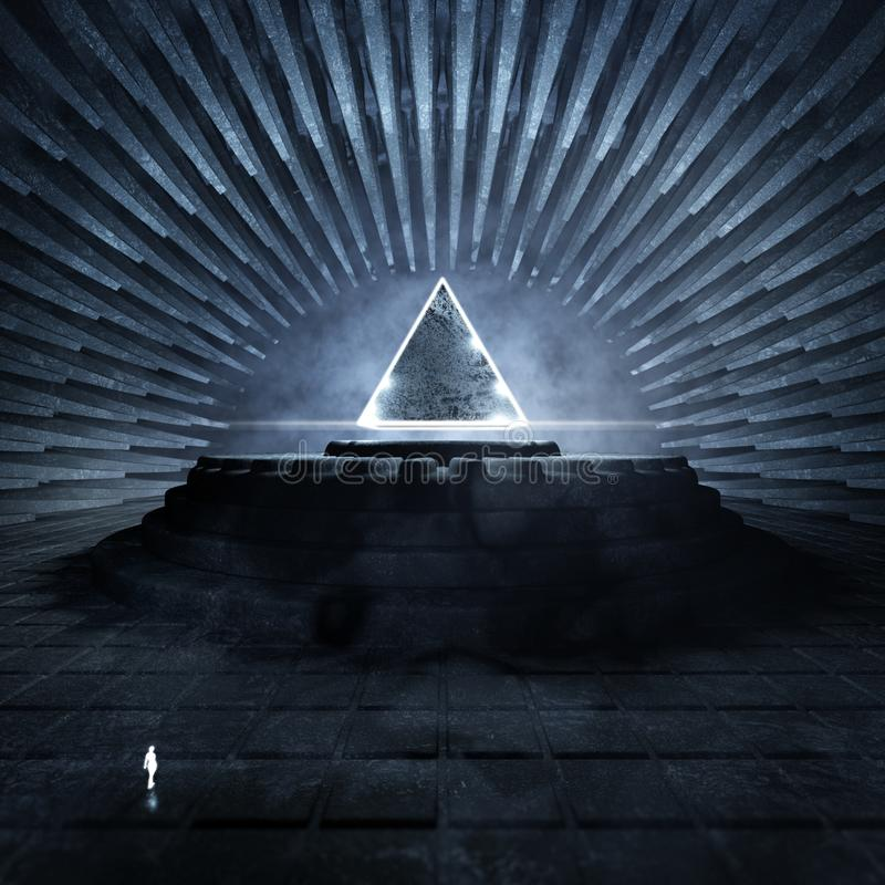 Ciemna świątynia Z Rozjarzonym trójbokiem ilustracji