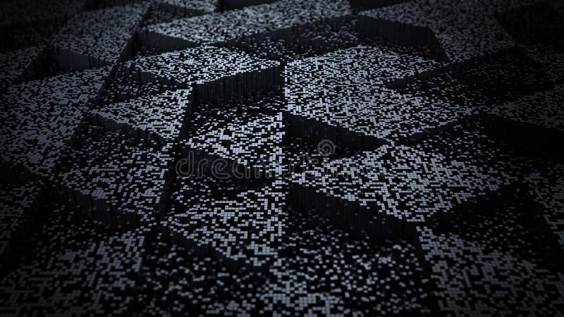 Ciemna Abstrakcjonistyczna tło piksla sztuki 3D ilustracja royalty ilustracja
