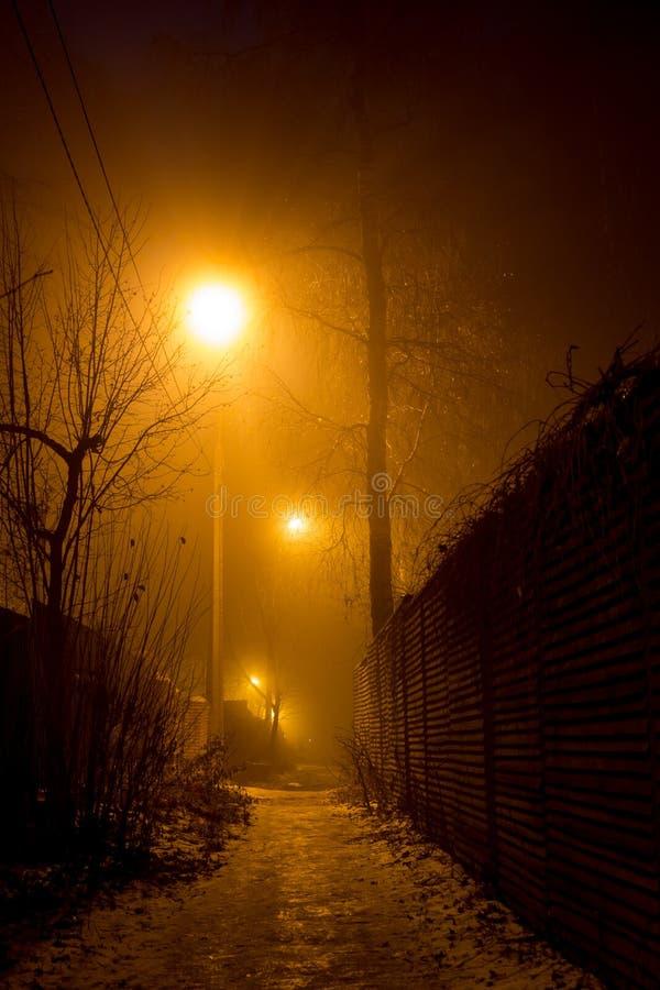 Ciemna aleja między ogrodzeniami przy nocą zdjęcie stock