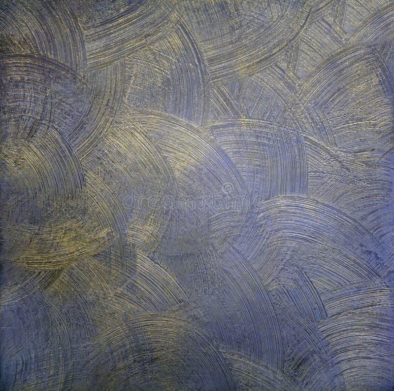 Ciemna farby tekstura z round rozwodami jest błękitna z złotem Dekoracyjny narzut dla ścian zdjęcia stock