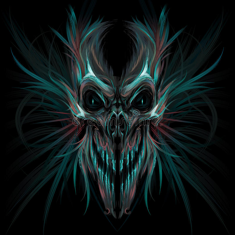 Ciemna krzycząca czaszka ilustracji