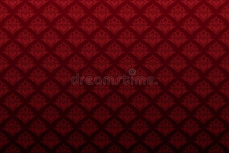 ciemna kwiecista czerwona tapeta bezszwowa serca ilustracja wektor