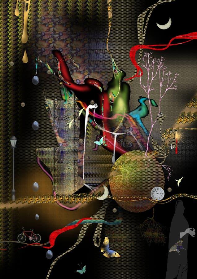 Ciemna natura, abstrakcjonistyczna ilustracja royalty ilustracja