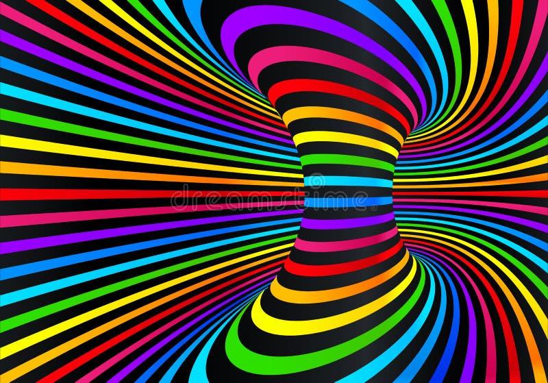 Ciemna neonowa tęcza barwi wektorowego abstrakcjonistycznego dyskoteki tło royalty ilustracja