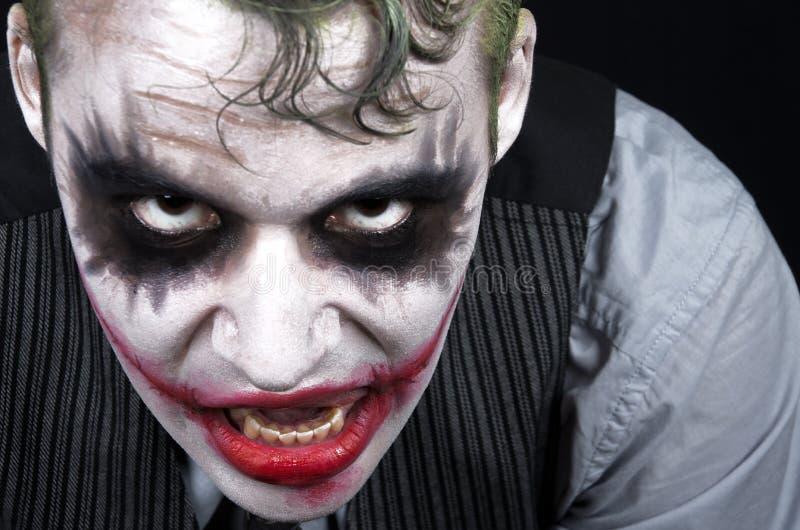 Ciemna przerażająca joker twarz fotografia royalty free