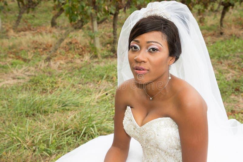 ciemna skóry czerni panna młoda w dzień ślubu obraz stock