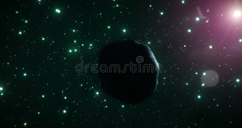 Ciemna strona lodowa asteroida podróżuje przez zimnej rozległości przestrzeń na tle zielone gwiazdy royalty ilustracja