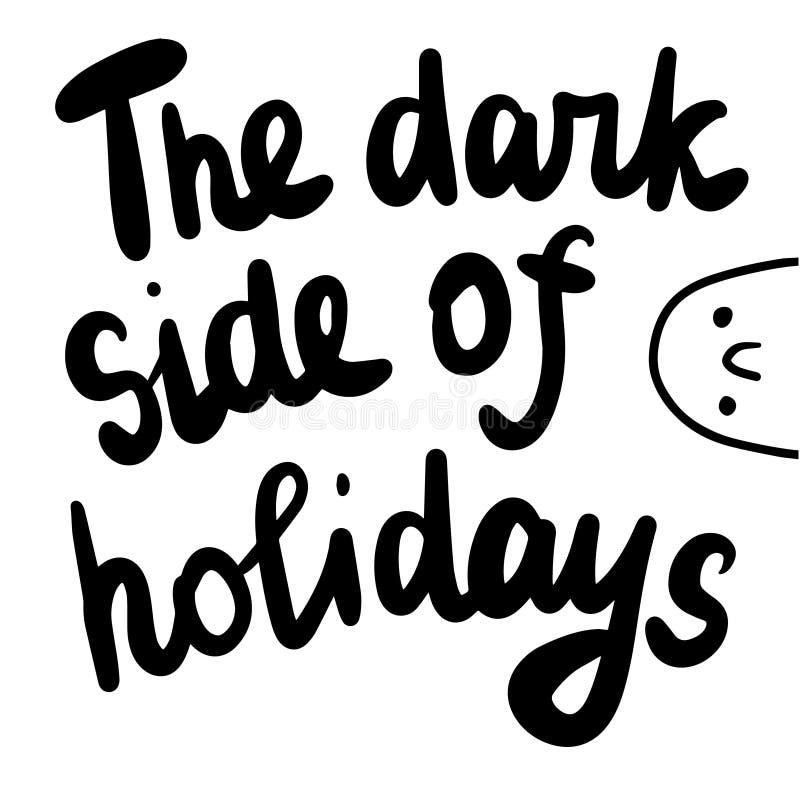 Ciemna strona wakacje wręcza patroszonego literowanie z marshmallow ilustracją ilustracja wektor
