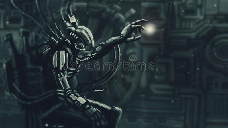 Ciemna władyka siedzi w kostiumu na jego żelaznym tronie ilustracji