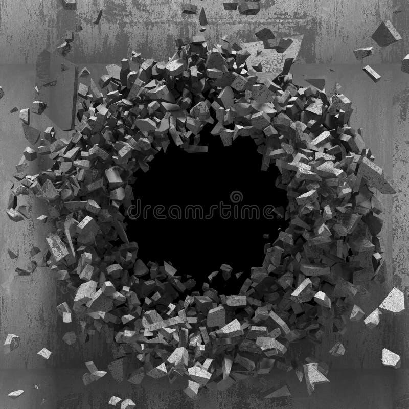 Ciemna wybuch dziura betonowa stara ściana fotografia stock