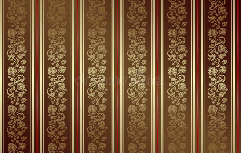 ciemna złota wzoru róża bezszwowa royalty ilustracja