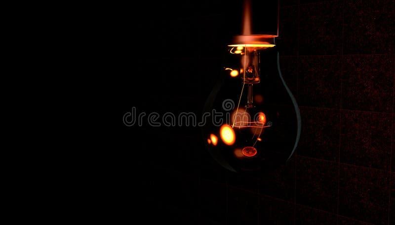 Ciemnawa czerwone światło żarówka royalty ilustracja