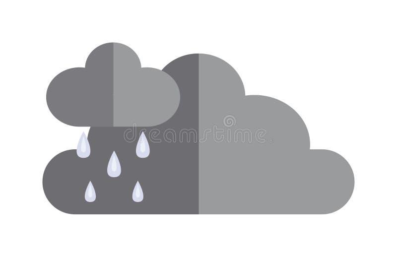 Ciemne burz chmury przed podeszczowego dramatycznego cloudscape ikony wektoru płaską ilustracją ilustracja wektor