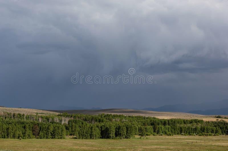 Ciemne burz chmury złowrogo unoszą się nad Kalifornia pastureland zdjęcia stock