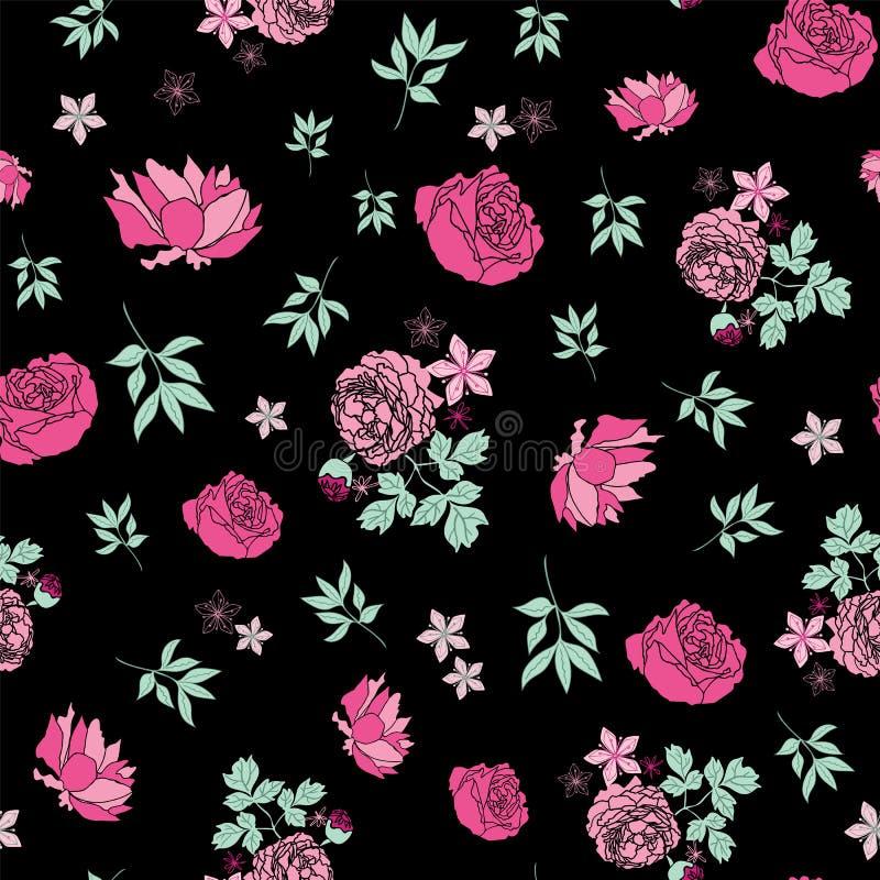 Ciemne kwieciste Angielskie róże i liścia bezszwowy deseniowy druk wektor ilustracji
