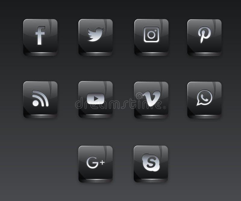 Ciemne Ogólnospołeczne sieci ikony ilustracji